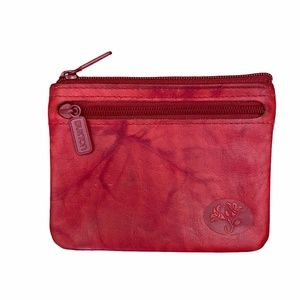 Vtg Buxton Red Top Grain Leather Zip Card Case